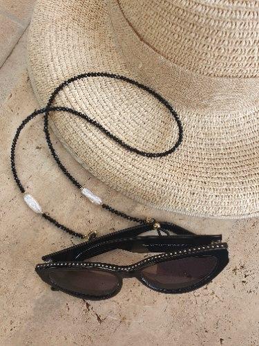 שרשרת למשקפיים - חרוזים שחורים ופנינים
