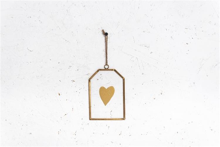 שלט זכוכית בינוני - לב (זהב)