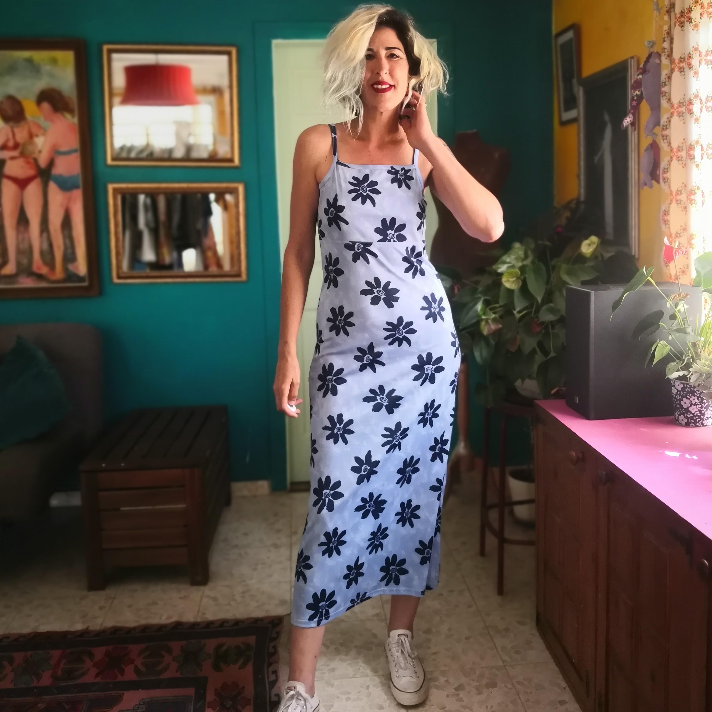 שמלת לייקרה מקסי פרחונית מס' 1 מידה S/M