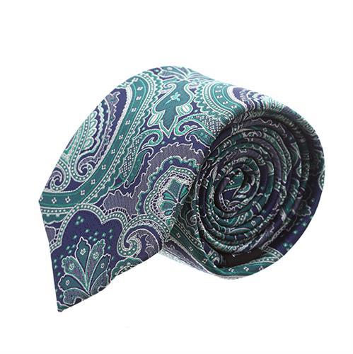 עניבה פייזלי ירוק כחול משולב