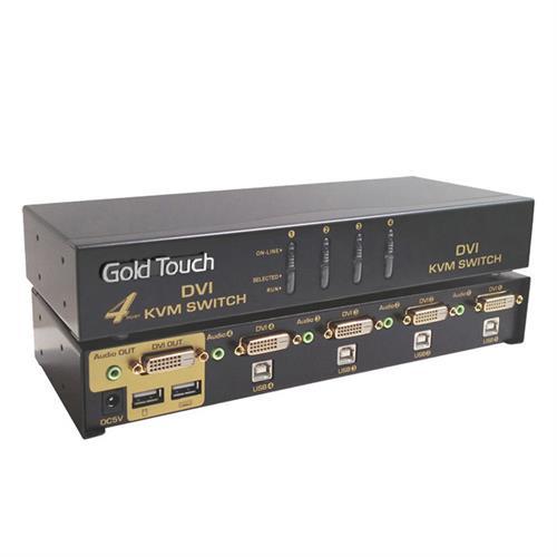 קופסת מיתוג GOLD TOUCH KVM-DVI-4