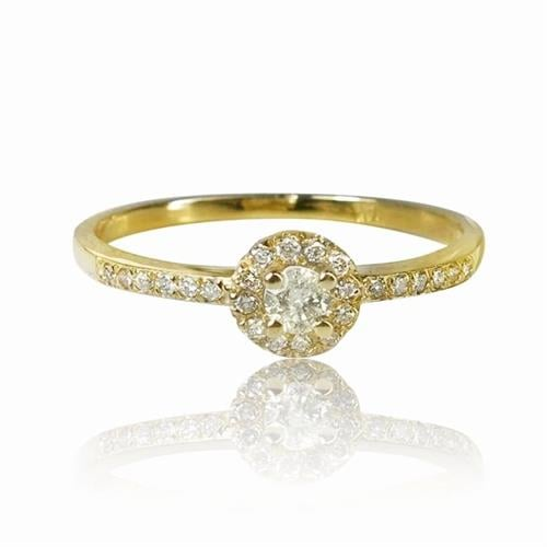 טבעת זהב 14K משובצת יהלומים 0.22 קראט