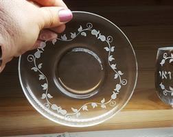 צלחת זכוכית עם חריטה, חריטה על צלחות זכוכית, צלחת מיוחדת