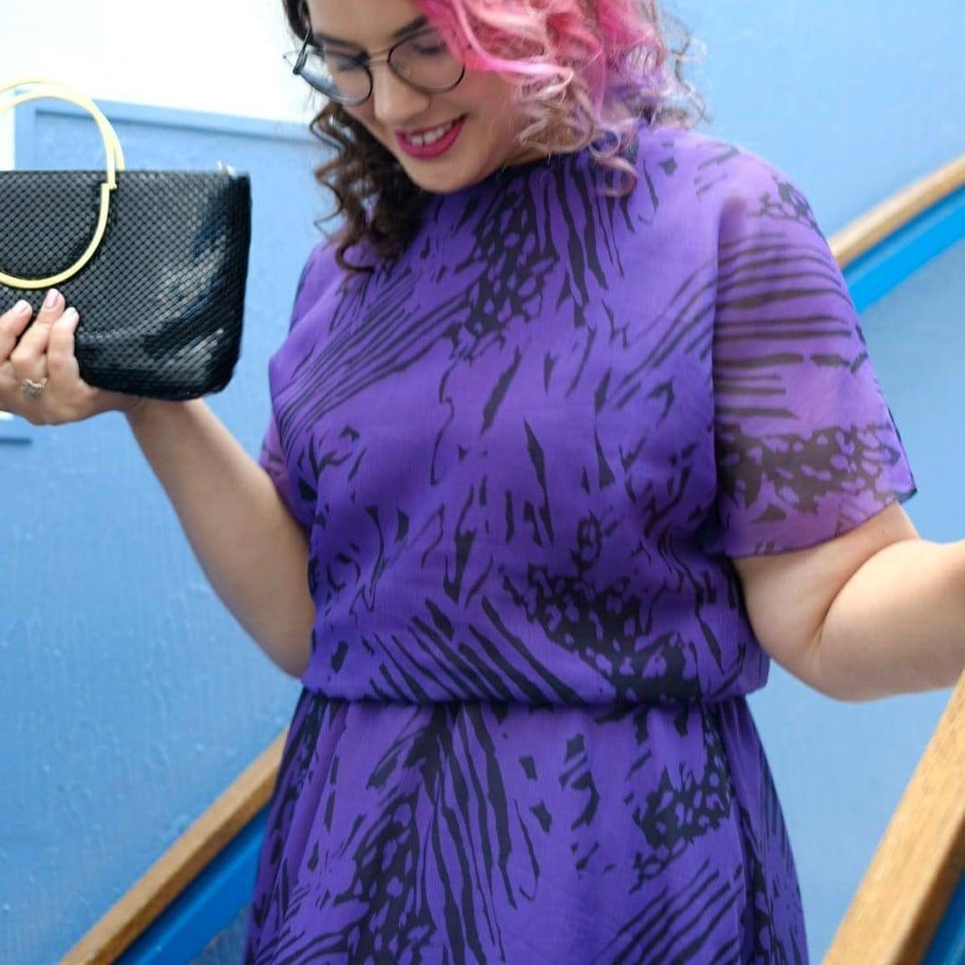 שמלת מידי סגולה שנות ה-80 מידה L/XL