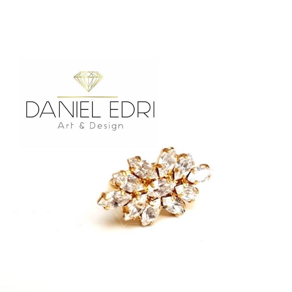 טבעת זיקוק קריסטלים- זהב