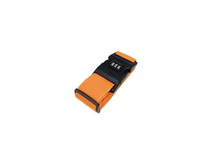 רצועת קשירה למזוודה עם מנעול קוד -צבע כתום