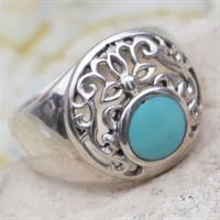 טבעת כסף משובצת טורקיז תכלת RG6774