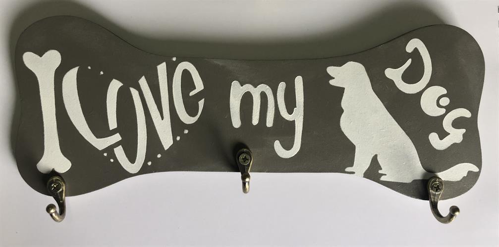 מחזיק מפתחות בצורת עצם I LOVE MY DOG