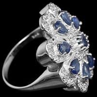 טבעת כסף משובצת אבני ספיר כחול וזרקונים RG7042 | תכשיטי כסף 925 | טבעת כסף