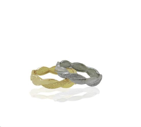 טבעת נישואין צמה בזהב 14 קרט- דגם WR894