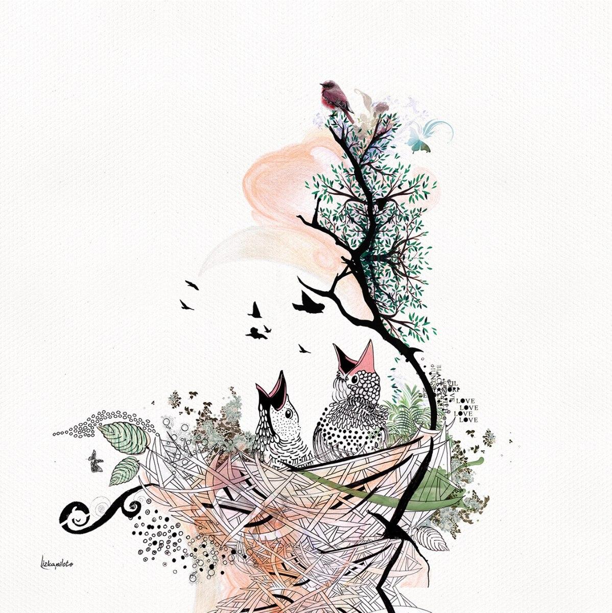 ציור של גוזלים בקן