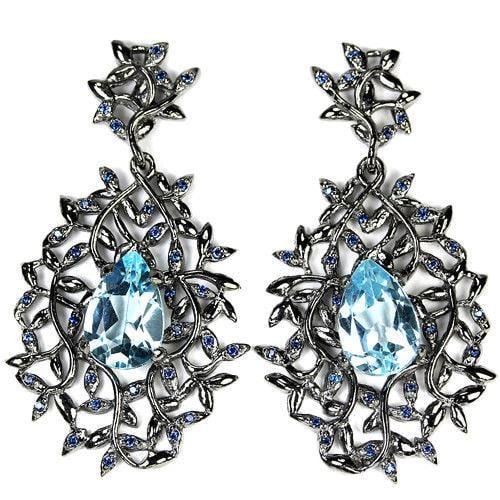 עגילי כסף ארוכים משובצים אבן טופז כחולה ואבני זרקון כחולות A8359 | תכשיטי כסף 925 | עגילי כסף