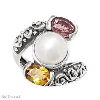טבעת מכסף מעוצבת משובצת אבני גרנט, סיטרין ופנינה RG6327 | תכשיטי כסף 925 | טבעות כסף