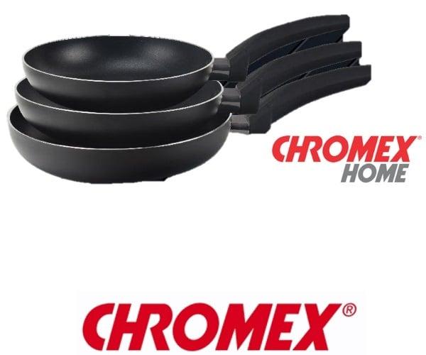 "CHROMEX סט 3 מחבתות בגדלים 26"" ,24"", 20"" דגם CH-754"