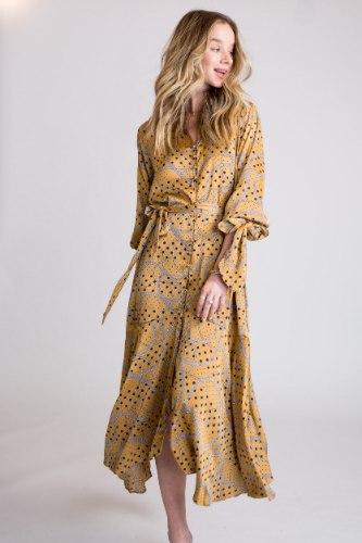 שמלת סאטן מודפס קשירה בשרוול