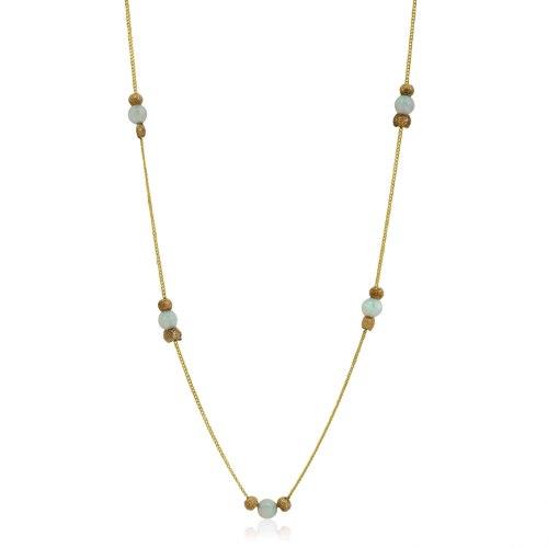 שרשרת זהב עדינה לנשים עם אבני אופל