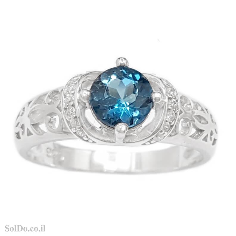 טבעת מכסף משובצת אבן טופז כחולה  וזרקונים RG8806 | תכשיטי כסף 925 | טבעות כסף