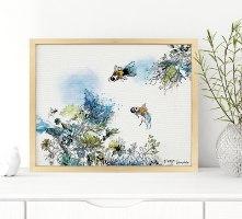 הדפס אומנותי של דגים בים כחול עם אלמוגים