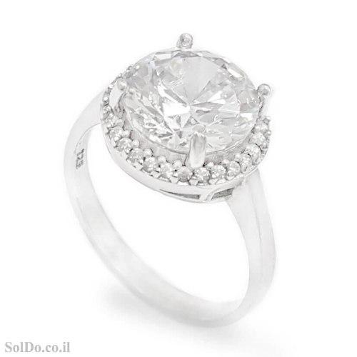טבעת מכסף משובצת אבן זרקון עגולה ואבני זרקון קטנות RG6205 | תכשיטי כסף | טבעות כסף