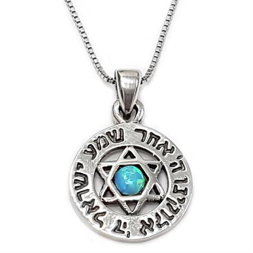 מגן דוד שמע ישראל מכסף טהור 925 בשילוב אבן אופאל T5978
