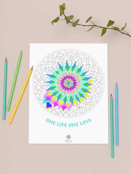 דפי מנדלות לצביעה - ONE LIFE ONE LOVE