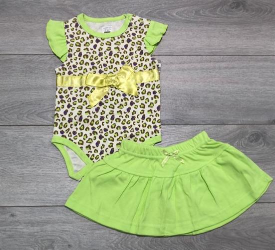 בגד גוף עם חצאית ירוק מנומר
