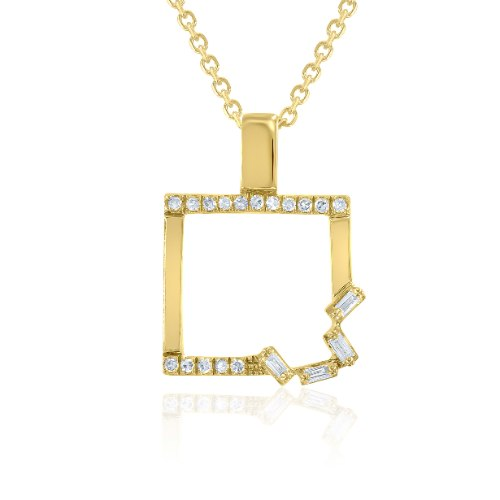 שרשרת ותליון זהב 14 קראט 0.08 קראט יהלומים 87213 - מחיר מבצע!