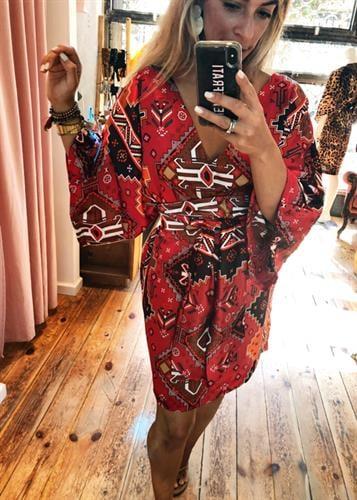 שמלת קלריסה אדום אתני