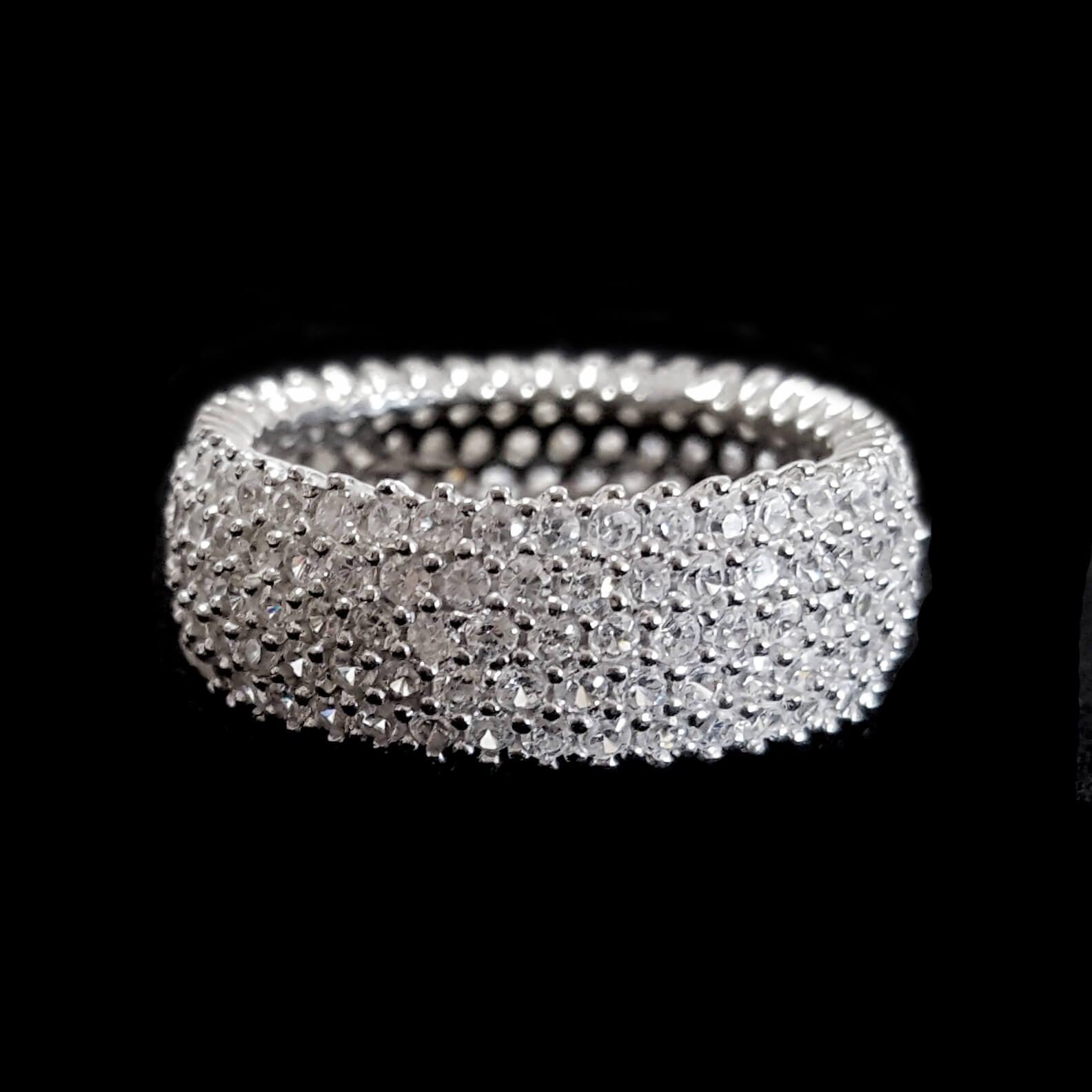 טבעת כסף רחבה משובצת זרקונים RG5602 | תכשיטי כסף 925 | טבעת כסף