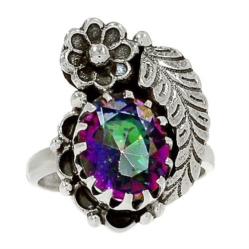 טבעת כסף מעוצבת, משובצת מיסטיק טופז  RG5717 | תכשיטי כסף 925 | טבעות כסף