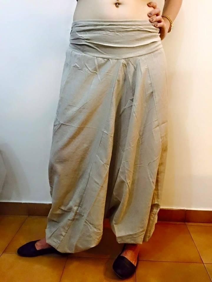 מכנסי אלאדין כותנה נפאלית אוף וויט