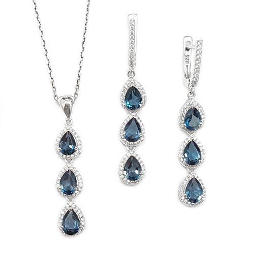 עגילים ארוכים ותליון מכסף משובצים אבני טופז כחולות וזרקונים S1572