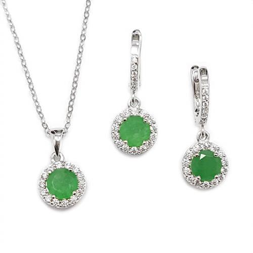 עגילים ותליון כסף משובצים אבני אגת צבע ירוק וזרקונים S1562 | תכשיטי כסף 925 | עגילי כסף
