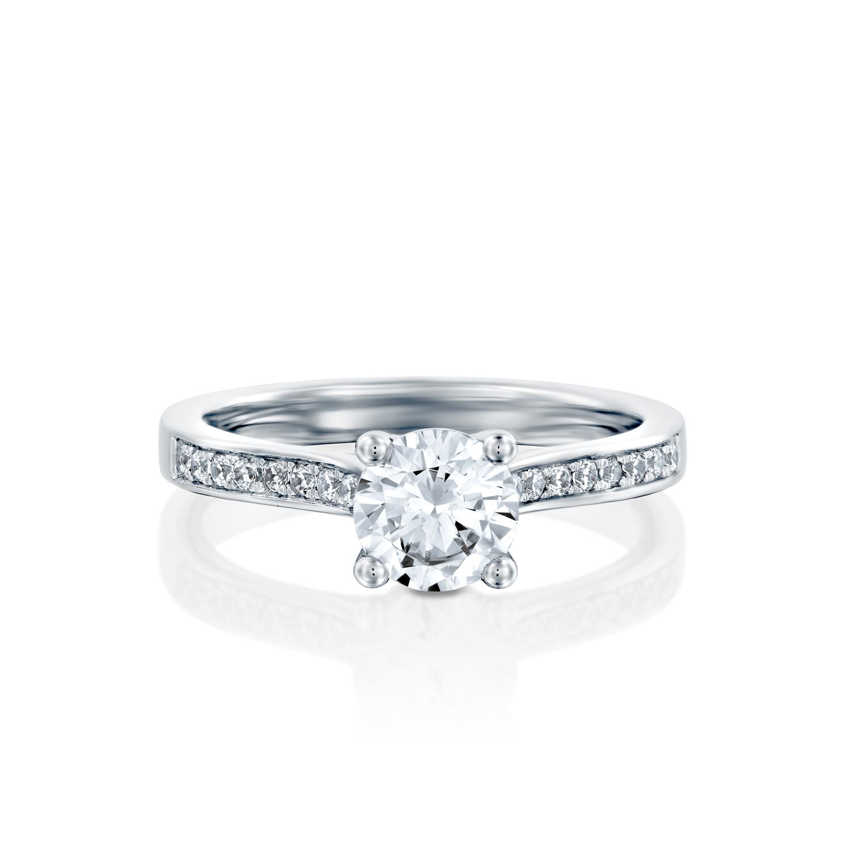 טבעת אירוסין זהב לבן 14 קראט משובצת יהלומים BASIC FOUR STONES