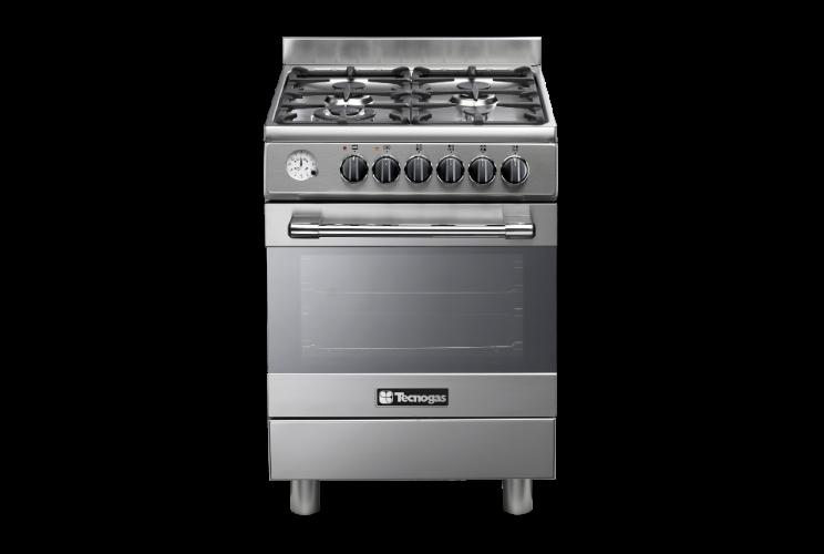 """תנור בישול ואפייה משולב גז 60 ס""""מ טכנוגז נירוסטה TECNOGAS P2X66E4VC"""