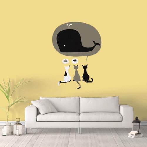 מדבקת קיר חתולים think big