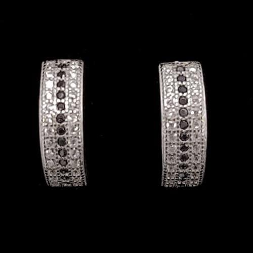 עגילי כסף חישוקים משובצים אבני זרקון לבנות ושחורות A5607 | תכשיטי כסף 925