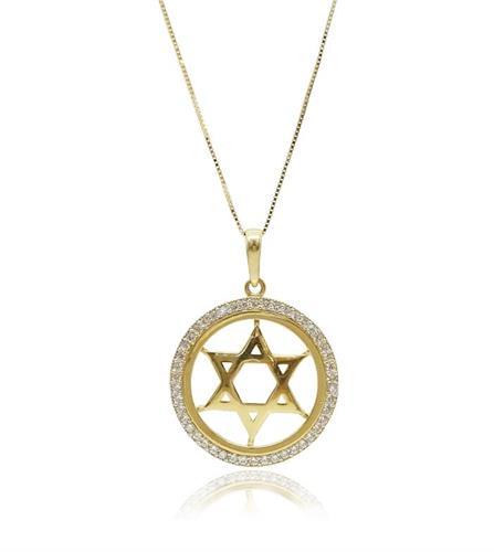 שרשרת ותליון זהב עם מגן דוד וזרקונים מהמם