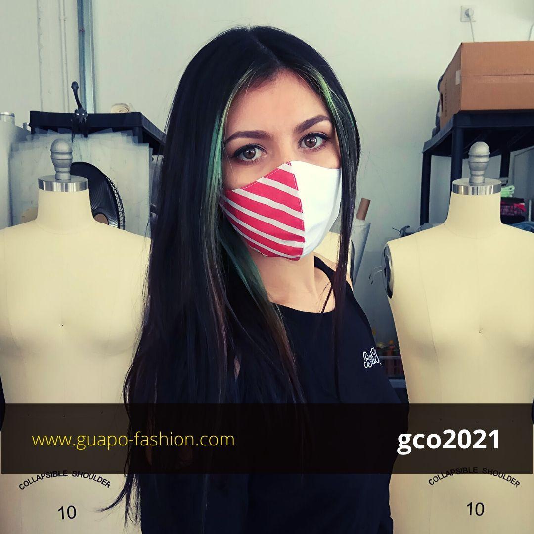 מסכת בד מעוצבת - לבן עם פסים אדום לבן reusable face coverings
