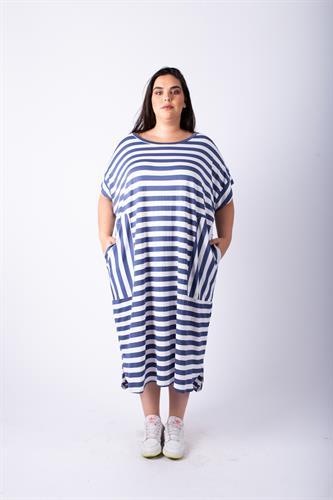 שמלת אן פסים כחול לבן