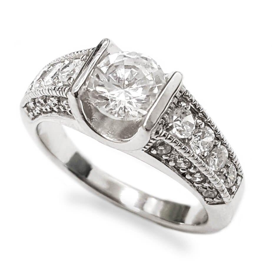 טבעת כסף משובצת אבני זרקון  RG5897   תכשיטי כסף   טבעות כסף