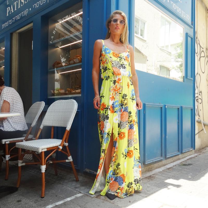 שמלת אדל פרחוני צהוב
