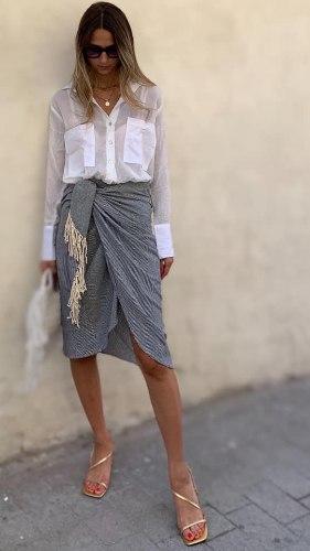 חצאית מעטפת מידי פסים קרושה