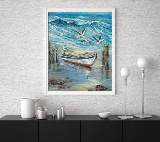 סירה ושחפים