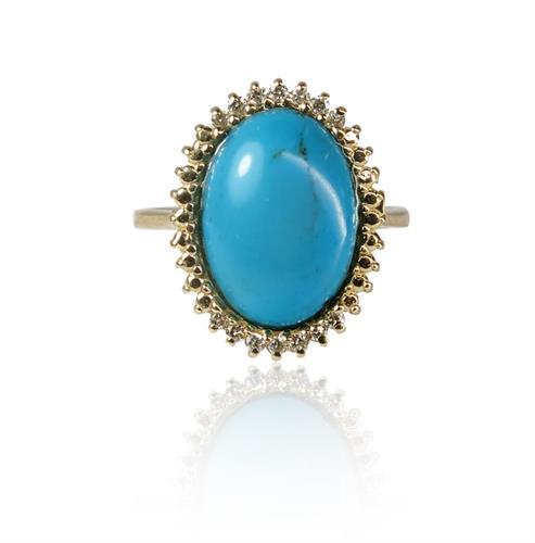 טבעת זהב משובצת אבן טורקיז ויהלומים