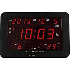 שעון קיר כולל תאריך וטמפ' VST-802W