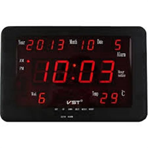 שעון קיר דיגיטלי לד כולל תאריך וטמפ' VST-802W