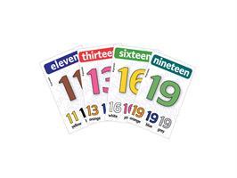 משחק רביעיות באנגלית gamelish | סופרים בצבעים 11-20  Numbers & Colors