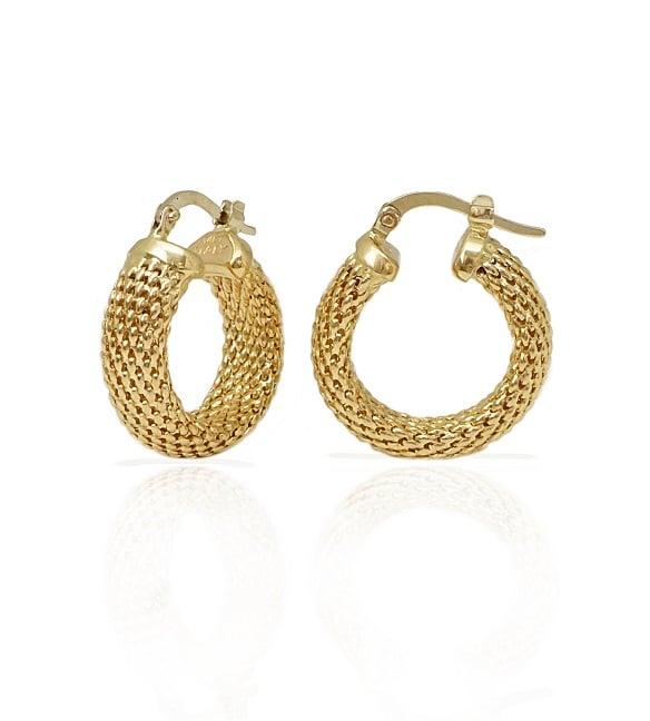 עגילי חישוק זהב בסגנון רשת קטנים עבים  לאישה\נערה