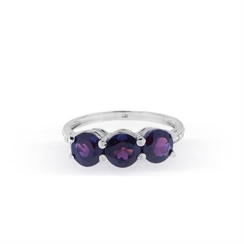 """טבעת זהב 14 קרט """"שלוש אבנים"""" משובצת גרנט זרקון  ויהלומים 0.07 קראט"""